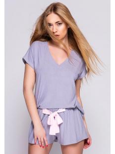 Женская летняя трикотажная пижама с шортами из сиреневой вискозы