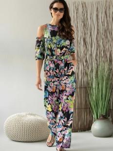 Летний женский цветочный комбинезон с брюками и открытыми плечами