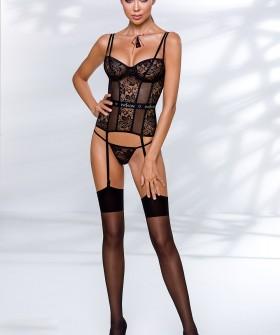 Черный эротический корсет из прозрачного тюля с подвязками для чулок