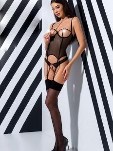 Черный эротический корсет на прозрачной сеточке с открытой грудью