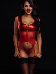 Красный эротический корсет со стрингами