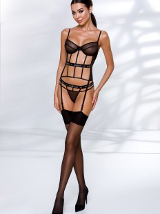 Черный эротический открытый корсет на эластичных лентах с подвязками для чулок