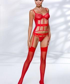 Красный эротический открытый корсет на эластичных лентах с подвязками для чулок