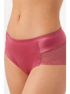 Розовые атласные женские трусики слипы с завышенной посадкой и кружевом
