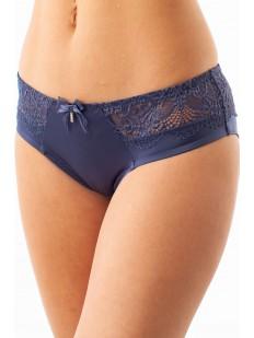 Атласные женские трусики слипы с кружевным поясом синего цвета
