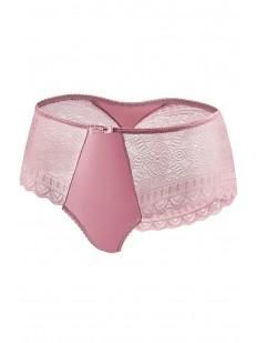 Высокие кружевные трусики панти розового цвета