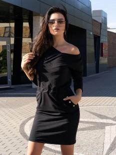 Стильное короткое черное платье с карманами и металлическим декором