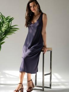 Длинное фиолетовое платье свободного кроя без рукавов