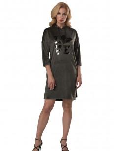 Женское домашнее платье с капюшоном и пайетками
