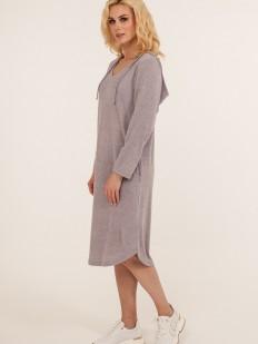 Сиреневое домашнее платье из вискозы с капюшоном и карманами