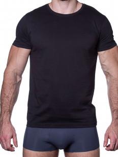 Черная мужская футболка из хлопка с круглым вырезом