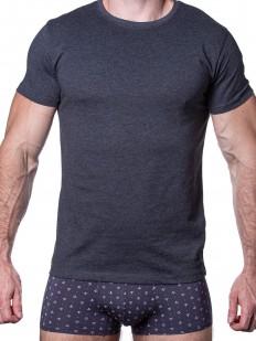 Серая мужская футболка из хлопка с лайкрой - круглый вырез