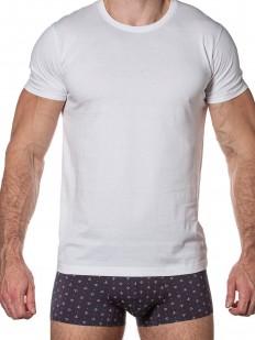 Белая мужская футболка из хлопка с лайкрой - круглый вырез