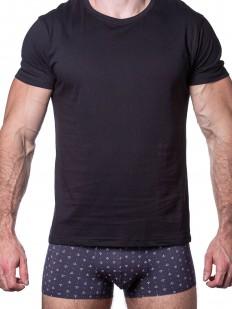 Черная мужская футболка из хлопка с лайкрой - круглый вырез