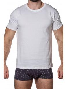 Белая мужская футболка из хлопка с круглым вырезом