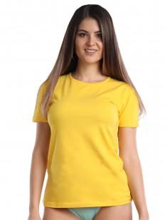 Классическая женская футболка из хлопка желтого цвета