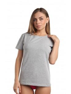 Классическая женская футболка из хлопка серого цвета