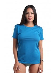 Классическая женская футболка из хлопка голубого цвета
