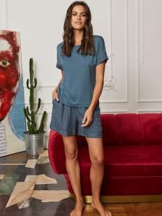 Домашняя женская футболка из вискозы синего цвета