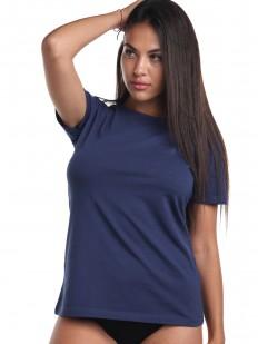 Классическая женская футболка из хлопка темно-синего цвета