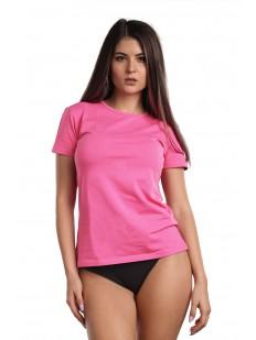 Классическая женская футболка из хлопка розового цвета