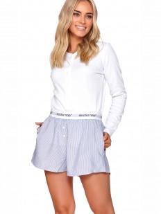 Домашняя женская белая футболка лонгслив с застежкой на кнопках