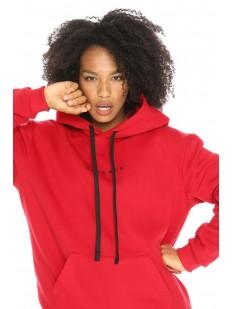 Красное женское худи oversize из плотного материала с начесом