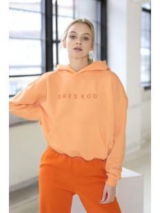 Светло-оранжевое женское худи из плотного хлопка с начесом