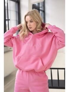 Розовое женское худи из плотного хлопка с начесом