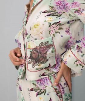 Атласная пижамная рубашка с цветочным принтом