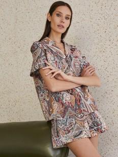 Женская домашняя рубашка с коротким рукавом и принтом пейсли
