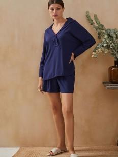 Свободная синяя женская рубашка из вискозы