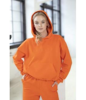 Оранжевое женское худи из плотного хлопка с начесом