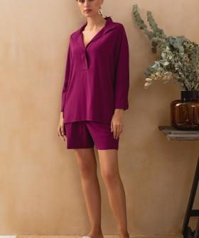 Бордовая домашняя рубашка из вискозы с поясом в комлпекте
