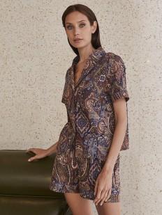Женская домашняя рубашка с принтом пейсли