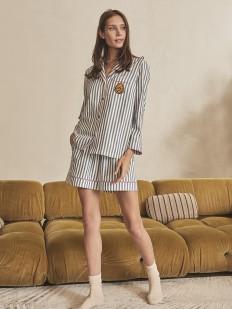 Женская пижамная рубашка из хлопка в полоску