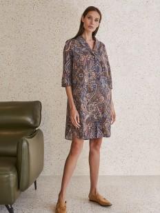 Удлиненная домашняя женская рубашка с принтом пейсли