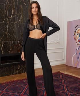 Черная домашняя женская рубашка с длинными рукавами