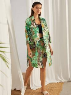 Удлиненная женская рубашка с тропическим принтом