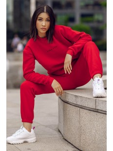 Красный женский свитшот в стиле оверсайз