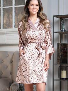 Летний атласный халат кимоно бежевого цвета на запахе