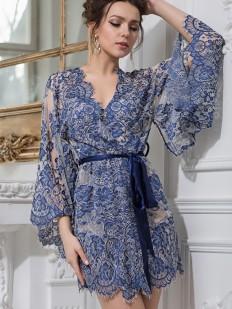 Женский кружевной короткий домашний халат кимоно