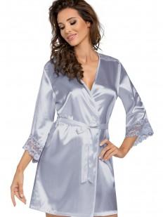 Женский атласный серебристый халат на лето с кружевным рукавом