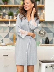 Женский серый халат из вискозы на пуговицах с кружевным рукавом