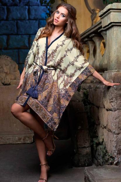 Летний домашний женский халат из принтованной вискозы Mia-Mia Shakira 16077 Blue - фото 1