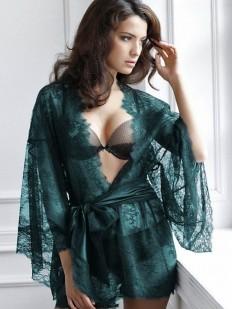 Кружевной изумрудный женский халат кимоно с атласным поясом