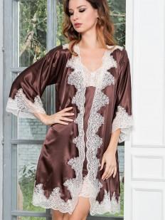 Шелковый женский летний халат с кружевной отделкой