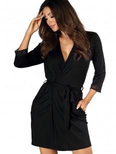 Женский халат на запахе из вискозы с карманами черный