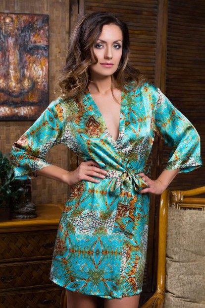 Шелковый женский короткий халат с принтом Mia-Mia Adriana 15103 - фото 1