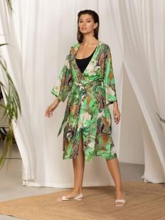 Женский летний халат из легкой вискозы с тропическим принтом